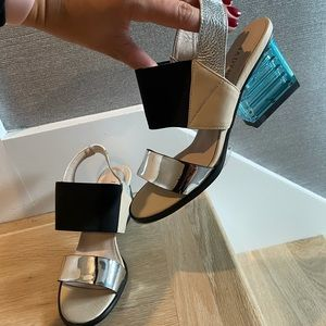 Jady Rose 7 new sandals clear brick nude leather